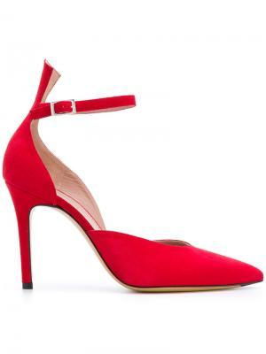 Туфли-лодочки с заостренным носком и ремешком Antonio Barbato. Цвет: красный