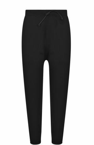 Укороченные шерстные брюки с эластичным поясом Isabel Benenato. Цвет: черный