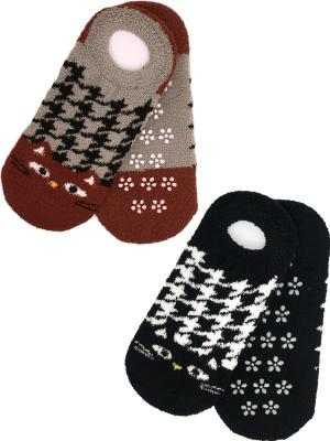 Носки махровые, подследники, 2 пары HOBBY LINE. Цвет: черный,серый,коричневый
