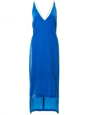 Бархатное платье-комбинация Dion Lee. Цвет: синий