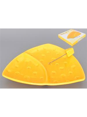 Тарелка для сыра 2-хсекционная Сыр с  вилкой Elan Gallery. Цвет: желтый