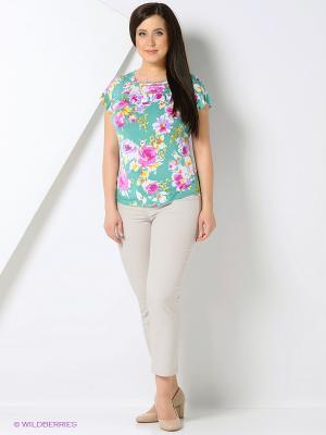 Блузка Milana Style. Цвет: зеленый, розовый