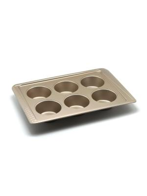 Форма для 6 маффинов 38,3х25,2х4,5 см Zanussi. Цвет: бронзовый