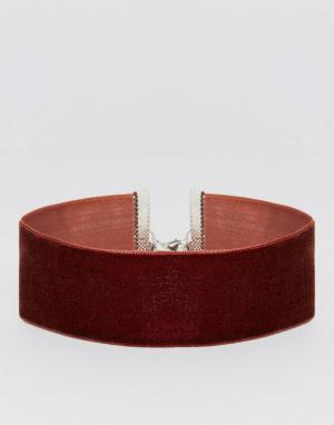 ASOS Широкое бархатное ожерелье‑чокер. Цвет: коричневый
