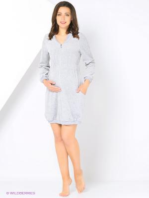 Велюровый халат для беременных Nuova Vita. Цвет: серый