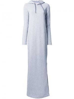 Длинное платье-толстовка с капюшоном Wanda Nylon. Цвет: серый