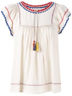 Блузка с кисточками Ulla Johnson. Цвет: телесный