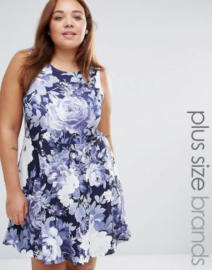 Praslin Короткое приталенное платье с цветочным принтом Plus. Цвет: синий