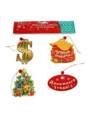 Подвески с пожеланиями Новогодняя ярмарка. Цвет: светло-зеленый, малиновый, оранжевый