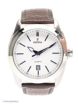 Часы Festina. Цвет: коричневый, серебристый