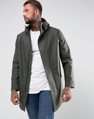 Hunter Пальто цвета хаки с прорезиненным эффектом. Цвет: зеленый