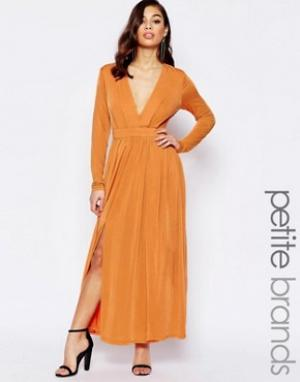 Lipstick Boutique Petite Платье макси с декольте и разрезом до бедра. Цвет: оранжевый
