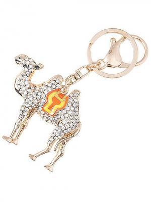 Брелок Верблюд объемный для сумки/ключей City Flash. Цвет: золотистый, белый, оранжевый
