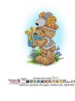 Рисунок на шелке Мишка Овен Матренин Посад. Цвет: бежевый