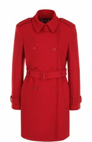 Двубортное пальто с поясом и погонами REDVALENTINO. Цвет: красный