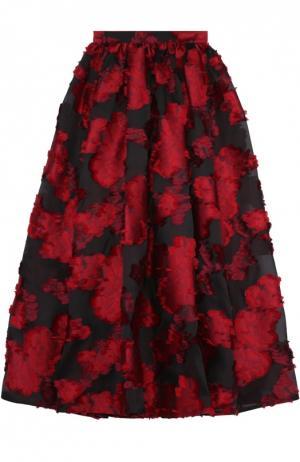 Юбка-макси с контрастным цветочным принтом Elie Saab. Цвет: красный