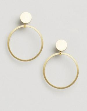Wolf & Moon Серьги‑гвоздики с кольцами and. Цвет: золотой