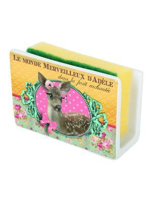 Маскировочный держатель для губки из керамики Мир Адели Orval. Цвет: желтый, зеленый, розовый