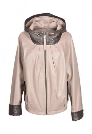 Куртка кожаная Grafinia. Цвет: бежевый