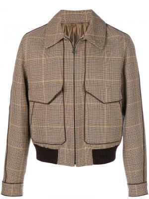 Куртка-бомбер  в клетку Wooyoungmi. Цвет: коричневый