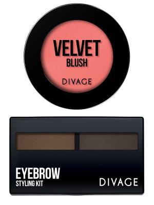 Набор №78 румяна компактные velvet тон 8702 + eyebrow styling 02 DIVAGE. Цвет: персиковый, темно-коричневый, темно-серый