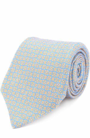 Кашемировый галстук с принтом Kiton. Цвет: голубой