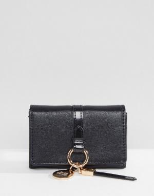 River Island Маленький кошелек с кольцом для ключей. Цвет: черный
