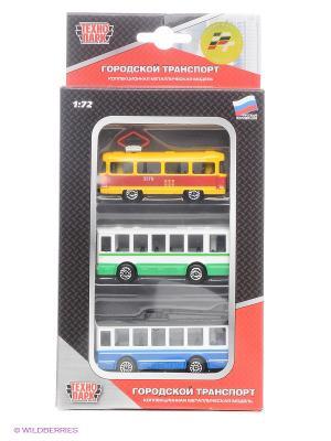 Набор Городской транспорт Технопарк. Цвет: зеленый, голубой, желтый