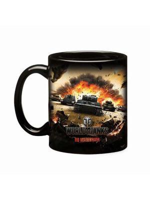 Кружка керамическая, Key-Art  World of Tanks, черная глянцевая, 425 мл Tanks. Цвет: черный
