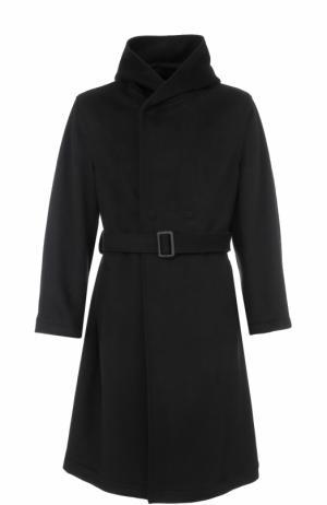 Пальто из смеси шерсти и кашемира с поясом капюшоном Yohji Yamamoto. Цвет: черный