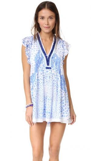 Мини-платье Sasha Poupette St Barth. Цвет: белый синий банановый