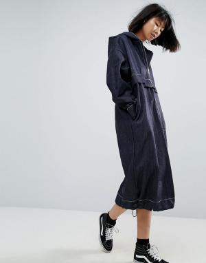 ASOS White Выбеленное джинсовое платье-ветровка цвета индиго. Цвет: синий