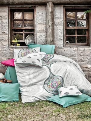Комплект постельного белья JEWEL сатин, 200ТС, евро ISSIMO Home. Цвет: серо-зеленый
