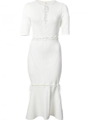 Платье со шнуровкой спереди Jonathan Simkhai. Цвет: белый
