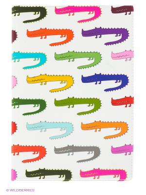 Обложка для паспорта Цветные крокодилы Mitya Veselkov. Цвет: белый, зеленый, фиолетовый, розовый