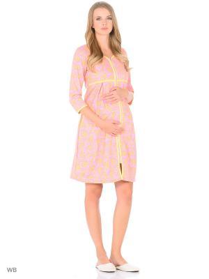 Халат женский для беременных и кормящих Hunny Mammy. Цвет: розовый, желтый