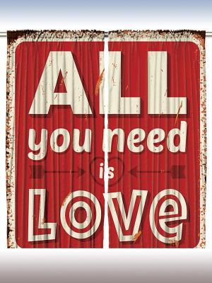 Фотошторы All you need is love, 290*265 см Magic Lady. Цвет: красный