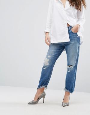 J Brand Укороченные рваные джинсы бойфренда с завышенной талией Ivy. Цвет: синий
