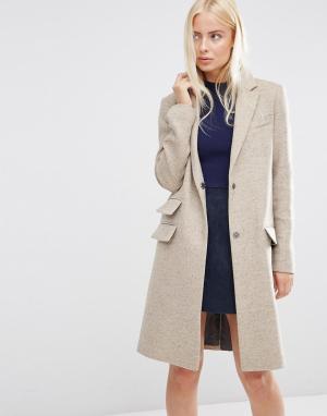 ASOS Пальто узкого кроя с добавлением шерсти карманами. Цвет: коричневый