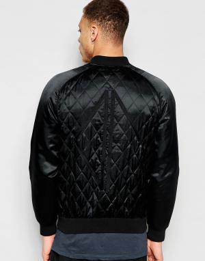 Dark Future Черная стеганая куртка‑пилот с вышивкой. Цвет: черный