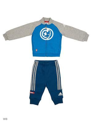 Спортивный костюм дет. TO DY TA TRSUIT  UNIBLU/MGREYH Adidas. Цвет: серый, синий