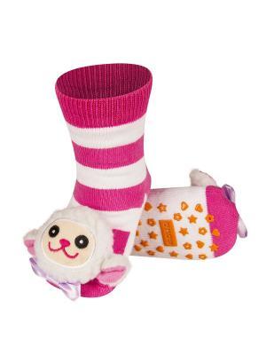 Носки детские с игрушкой Soxo. Цвет: розовый, белый