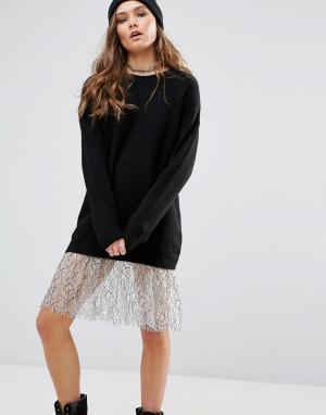 New Look Длинное платье-джемпер с кружевной отделкой. Цвет: черный