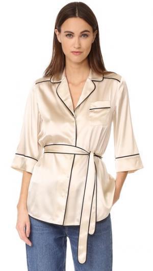 Шелковая пижамная рубашка Slyvia Whistles. Цвет: золотой