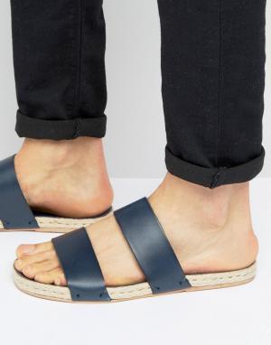 ASOS Синие кожаные сандалии с подошвой из джута. Цвет: темно-синий