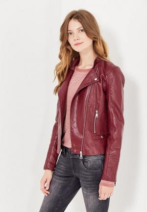 Куртка кожаная Vero Moda. Цвет: бордовый