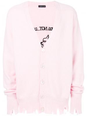 Состаренный кардиган Riccardo Comi. Цвет: розовый и фиолетовый