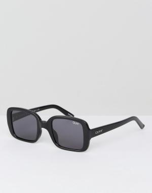 Quay Australia Черные большие квадратные солнцезащитные очки в стиле 20-х Austra. Цвет: черный