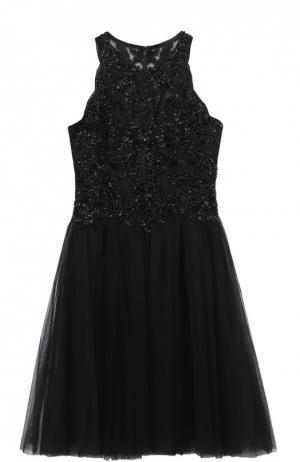 Приталенное мини-платье без рукавов с вышивкой Basix Black Label. Цвет: черный