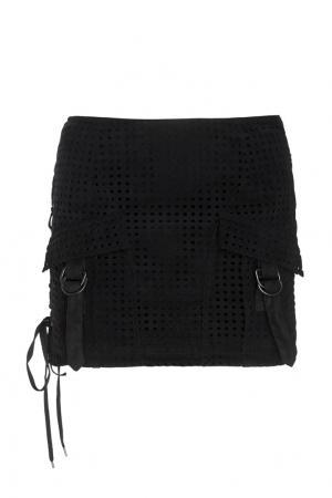 Сетчатая юбка с карманами Anthony Vaccarello. Цвет: черный